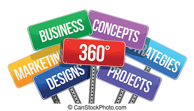 360 business concepts. color signs illustration design over...