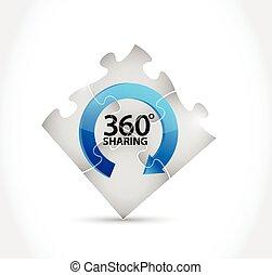 360, compartilhar, confunda pedaços