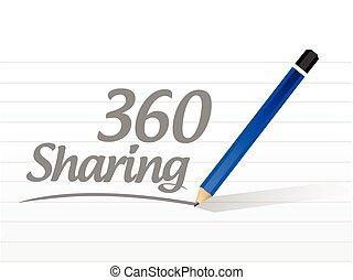 360, compartilhar, mensagem, ilustração