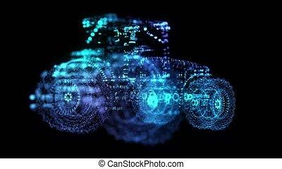 360, degree., animation., tractor., seamless, drehen,...