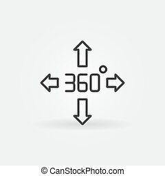 360 degree arrows vector outline concept icon