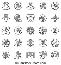 360-degree Camera outline icons set. Vector 360 camera signs
