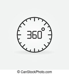 360 degree circle vector linear concept icon