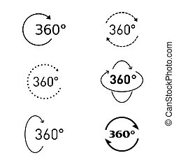 360 degree circular rotation. Set Vector icons and web button. COLLECTION OF ICONS.