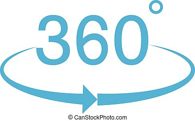 360 Degree icon on white background. 360 Degree sign.