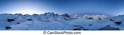 360 degree panorama from Riffelberg at dawn, Gornergrat,...