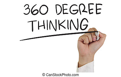 360 Degree Thinking - Business concept image of a hand...