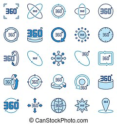 360 Degree vector colored icons collection. Rotation signs