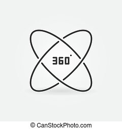 360 degree vector outline concept icon