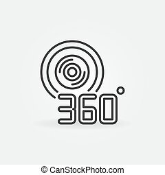 360 degree video camera outline vector icon