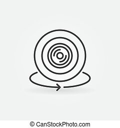 360 degree video camera outline vector minimal icon