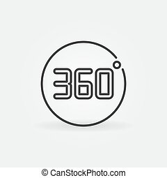 360 degrees in circle vector outline icon or symbol