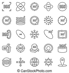 360 Degrees outline icons. Vector 360 degree rotation symbols