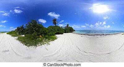 360 degrees view of Bois Jolan white sand on a sunny day