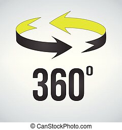 360 degrees view sign icon. vector illustration isolated on modern background.