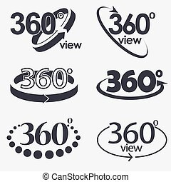 360 Degrees View Vector Icon - 360 Angle Degrees view icon,...