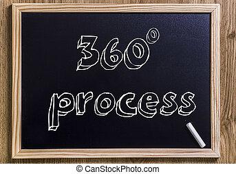 360 grau, processo, -, novo, chalkboard, com, 3d, esboçado, texto