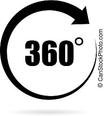 360 grau, vetorial, ícone