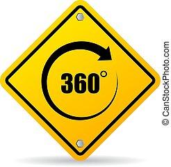 360 grau, vetorial, sinal