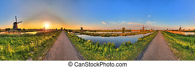 360 Kinderdijk - Beautiful panoramic image of the dutch...