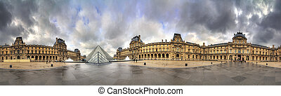 Beautiful 360 degree view of the Louvre museum in Paris, France, on February 19, 2014