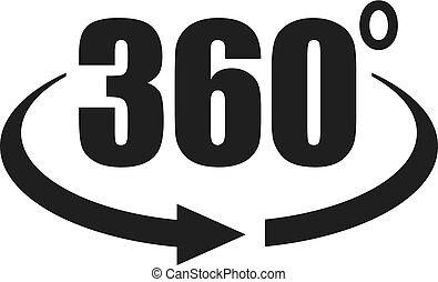 360, synhåll, grad, ikon
