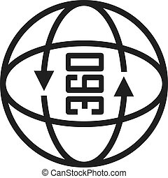 360, vetorial, grau, ícone