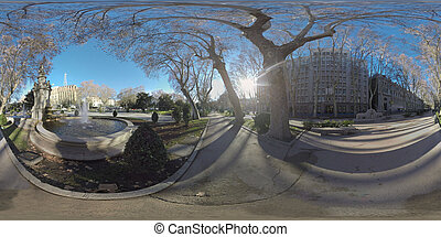 360 VR City view with Apollo Fountain on Paseo del Prado in Madrid, Spain