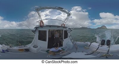 360 VR Dad and son traveling by yacht with fishing tackles,...
