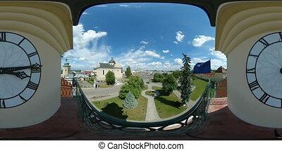 360 vr european city hall 4k panoramic video