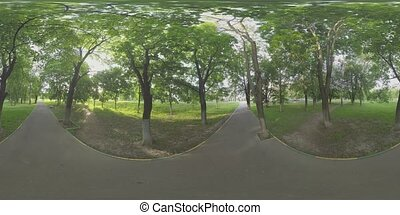 360 VR Green park with asphalt path in Moscow, Russia - 360...