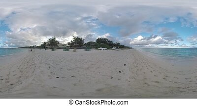 360 VR Resort on the coast and family running along the beach, Mauritius