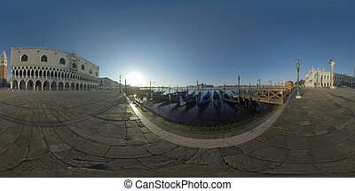 360 photo - Morning scene of waterfront Riva degli Schiavoni with Doges Palace, St. Marks Campanile and gondola mooring. Workers cleaning the street
