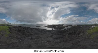 360 VR Timelapse of cloudy sky and ocean waves. View from...