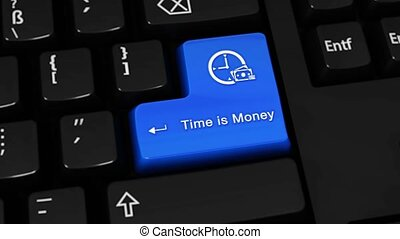 378. Time is Money Rotation Motion On Computer Keyboard Button.