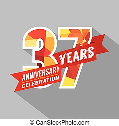 Vector Illustration Of Happy 37th Anniversary Celebration With