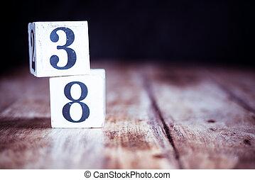 38, -, årsdag, födelsedag, tre, datera, trettio, åtta, åtta, numrera