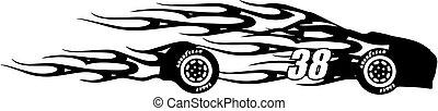 38 Flame Racecar Silhouette