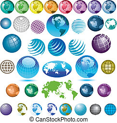 38 globes - 38 colorful vector globes