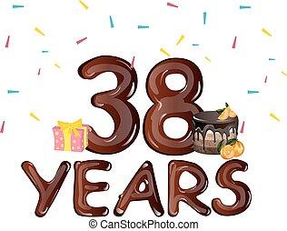 38, saudação, anos, cartão aniversário, celebração