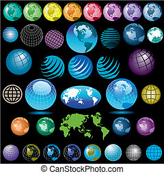 38 vector globes