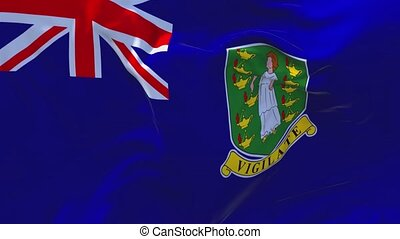 38. Virgin Islands UK Flag Waving in Wind Continuous Seamless Loop Background.