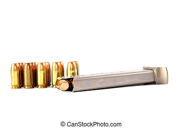 Isolated 380 handgun clip loaded with bullets
