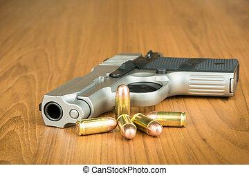.380, millimeter, hand gevär, med, omgången