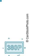 380P Video frame icon design vector