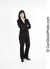Beautiful Asain Businesswoman posing on a white background