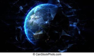 3840x2160, grand, rotating., animation, données, uhd, nuages, technology., social, réseau, 3d, entourer, points, numérique, la terre, planète, bleu, tourner, avenir, relier, lignes, space., 4k