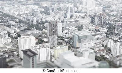 3840x2160 video - Asian city. Top view with shallow depth of field effect