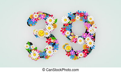 """39."""", floral, animation, """"numerical, chiffre"""