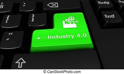 39. Industry 4.0 Round Motion On Computer Keyboard Button.